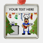 Christmas Cook Silver-Colored Square Decoration