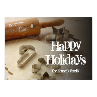 Christmas cookie cutters and fresh homemade 13 cm x 18 cm invitation card