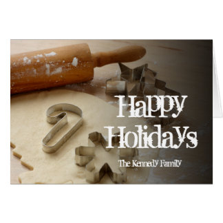 Christmas cookie cutters and fresh homemade greeting card
