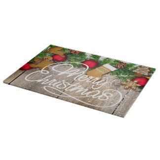 Christmas cookie glass cutting board