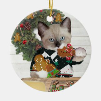 Christmas Cookie Kitten Personalized Ornament