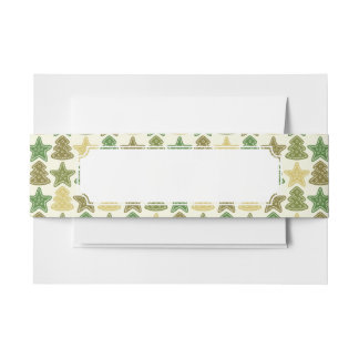 Christmas cookie pattern invitation belly band