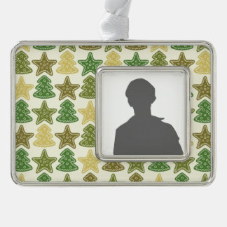 Christmas cookie pattern silver plated framed ornament
