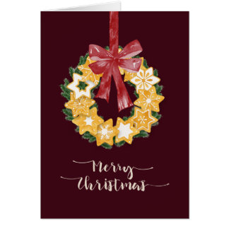 Christmas Cookie Wreath with Burgundy Background Card
