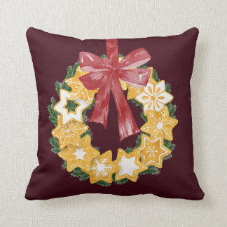 Christmas Cookie Wreath with Burgundy Background Cushion