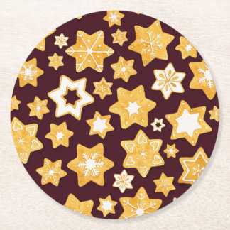 Christmas Cookie Wreath with Burgundy Background Round Paper Coaster