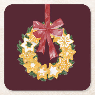 Christmas Cookie Wreath with Burgundy Background Square Paper Coaster