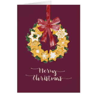 Christmas Cookie Wreath with Deep Plum Background Card