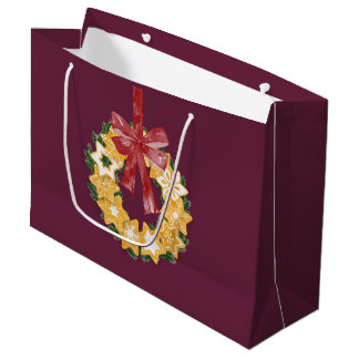 Christmas Cookie Wreath with Deep Plum Background Large Gift Bag