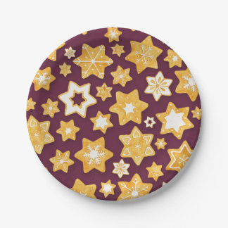 Christmas Cookie Wreath with Deep Plum Background Paper Plate