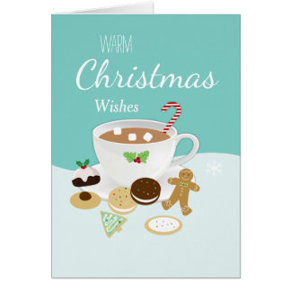 Christmas cookies and hot chocolate holiday card