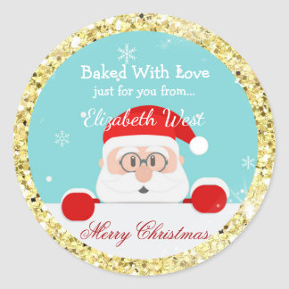 Christmas Cookies, Gold Glitter, Treat Stickers