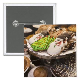 Christmas cookies on display in a New York city 15 Cm Square Badge