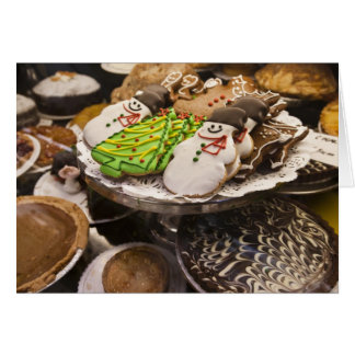 Christmas cookies on display in a New York city Card
