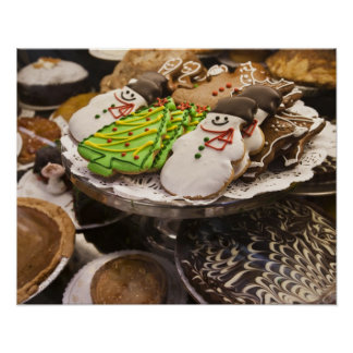 Christmas cookies on display in a New York city Poster