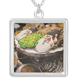 Christmas cookies on display in a New York city Square Pendant Necklace