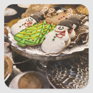 Christmas cookies on display in a New York city Square Sticker