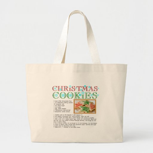 Christmas Cookies Recipe Canvas Bags