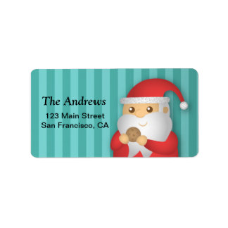 Christmas Cookies with Cute Santa for Christmas Address Label
