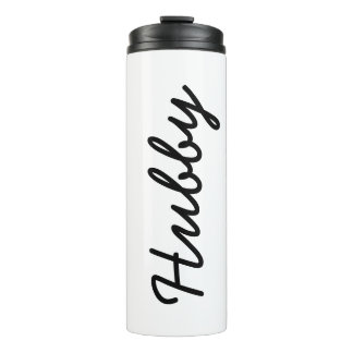 Christmas Cool Hubby Husband Black White Trendy Thermal Tumbler