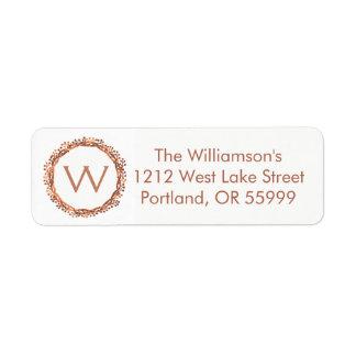 Christmas copper-look berry wreath monogram label return address label