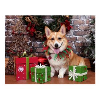 Christmas - Corgi - Cal Postcard