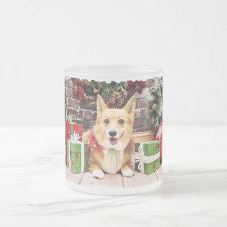 Christmas - Corgi - Pancake Frosted Glass Mug