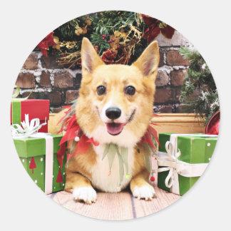 Christmas - Corgi - Pancake Round Sticker
