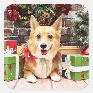 Christmas - Corgi - Pancake Square Sticker