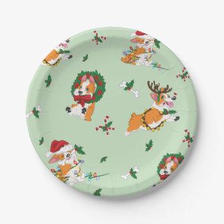 Christmas Corgi Paper Plates 7 Inch Paper Plate