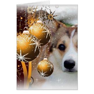 Christmas Corgi Sable Card