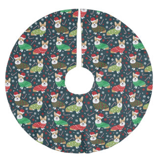 Christmas Corgi sweaters tree skirt - cute dog