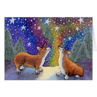 Christmas Corgis Enjoy The Stars Together CARD
