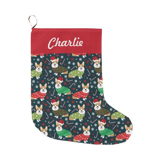 Christmas Corgis Stockings - personalised dog