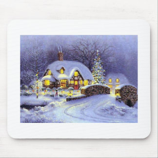 Christmas Cottage Mouse Pad