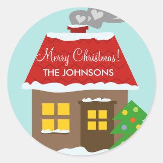 Christmas cottage snow house custom winter Holiday Round Sticker