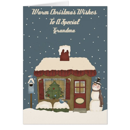 Christmas Cottage To A Special Grandma Card