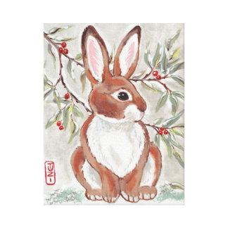 Christmas Cottontail Rabbit Berries Snow Art Canvas Print