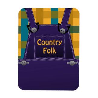 Christmas Counrty Folk Overalls Plaid PM Magnet
