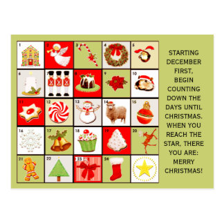 Christmas Countdown greeting cards Postcard