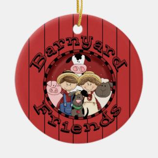 Christmas Country Fun Animal Friends Round Ceramic Decoration