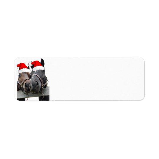 Christmas Country Horses Return Address Label