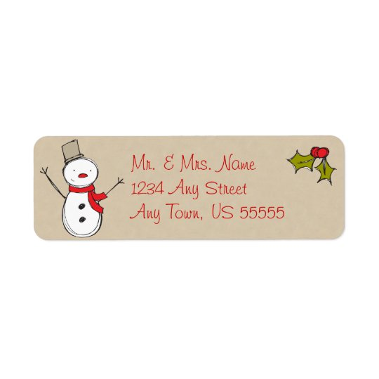 Christmas Country Snowman Address Labels