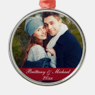 Christmas Couple Photo Ornament Year R
