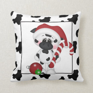 Christmas cow Country Holiday throw pillow