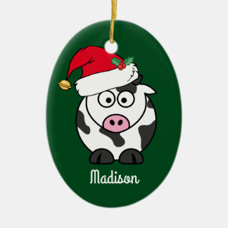 Christmas Cow Cute Personalized Christmas Ornament