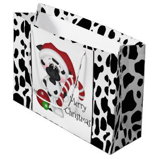 Christmas cow Holiday large gift bag