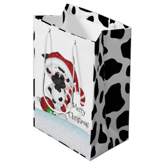 Christmas cow medium gift bag