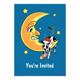 Christmas cow slumped over the moon 13 cm x 18 cm invitation card