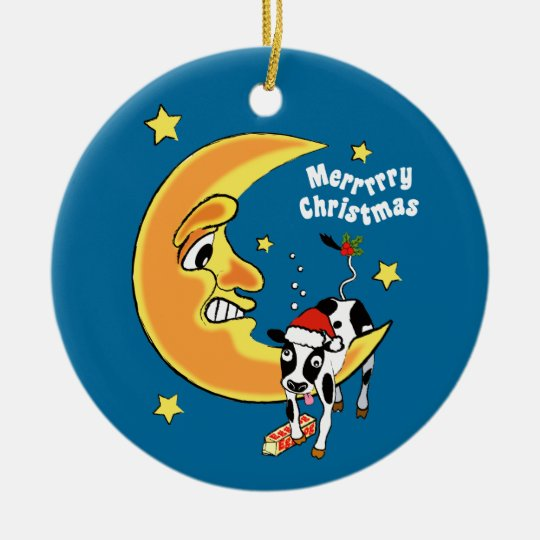 Christmas cow slumped over the moon christmas ornament
